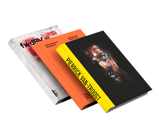 Three hardcover books floating