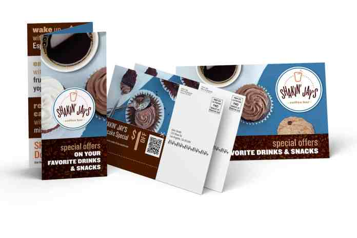 Tri-fold brochure, post cards with direct mail address information