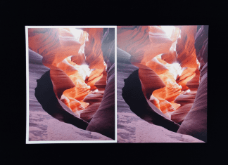 Same image side by side on black background. Once image has a white border (no full bleed) and the other prints to the edge of the page (full bleed)