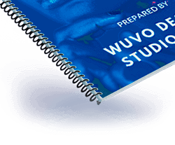 Spiral bound booklet is a plastic coil that is spun into sheets of paper to form a booklet.