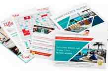 Mix of marketing brochures, postcards, and flyers