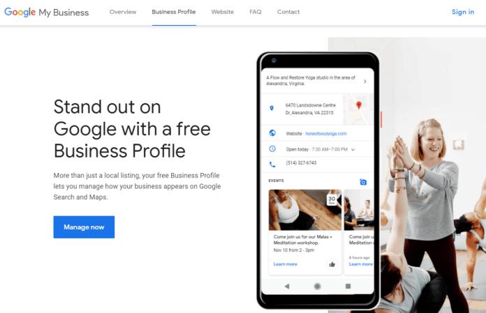 Screenshot of Google My Business website page