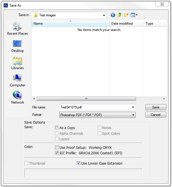 """When """"saving as"""", choose Photoshop PDF and click ICC Profile under the color section on the pop up."""
