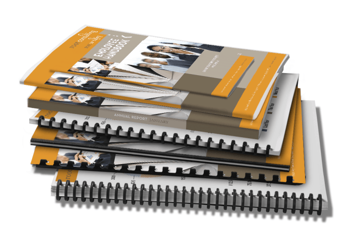 Stack of booklets with different binding types. Spiral bound, comb bound, perfect bound, and saddle stitched booklets.