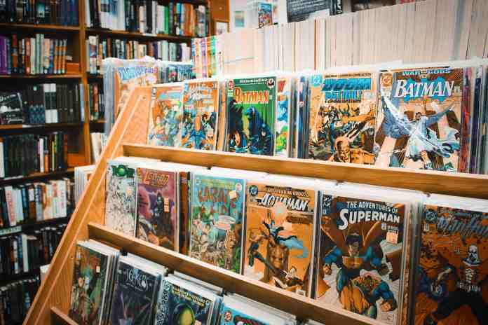 Shelves of classic comic books in a book store