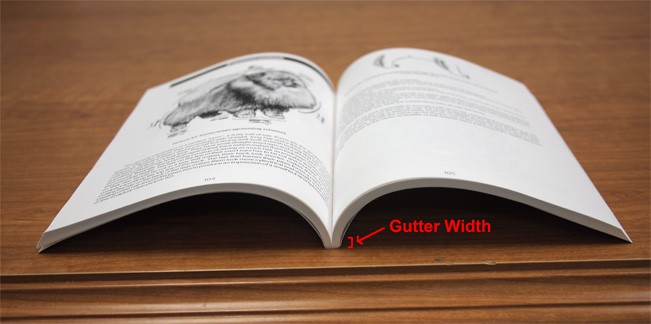 Gutter width can take up 1/4″ to 3/8″ from the page