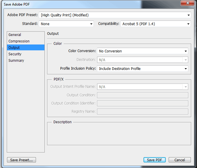 Under Output on the left of the pop up, make sure Include Destination Profile is chosen for Include Destination Profile