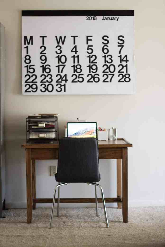 Calendar above a desk