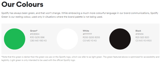 Spotify created a style guide and listed their colors for consistency.