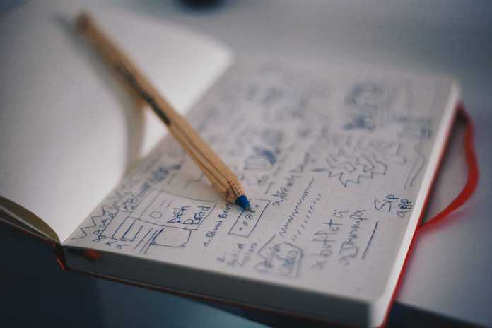 Notebook with sketches of a website layout