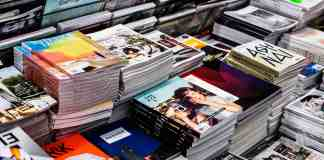 Stacks of catalogs and magazines