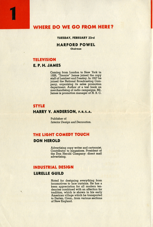 1937 Lecture Series of the Art Director's Club