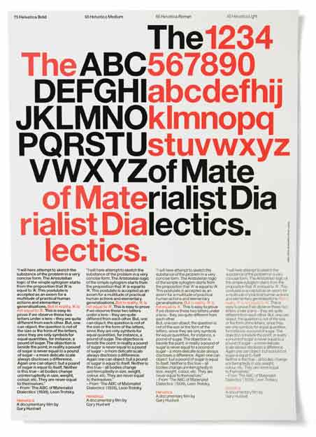 """Experimental Jetset, """"The ABC of Materialist Dialectics"""" poster (2006). Designed for Plexifilm as a fundraiser for Gary Hustwit's Helvetica documentary. A2-sized, letterpress print."""