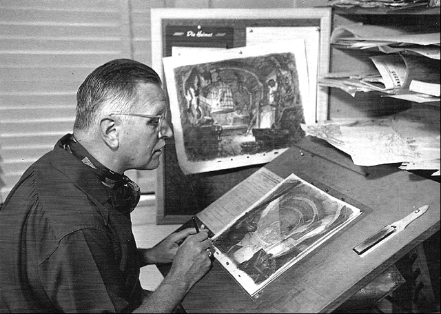 """A 1939 shot of Hurter at work on """"Pinocchio""""."""