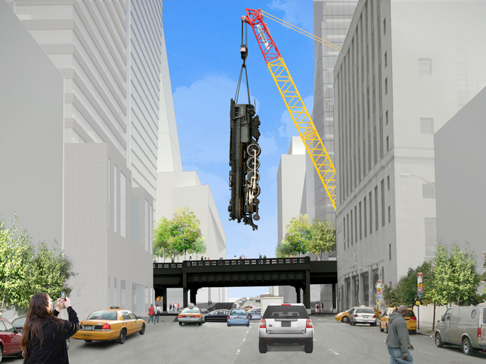 A design rendering of Jeff Koons' Train at the High Line