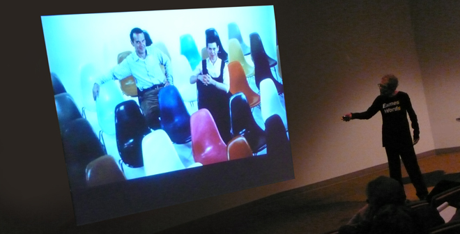 Deborah Sussman speaks of Charles and Ray Eames—and admiration and passion—to AIGA/NY members.