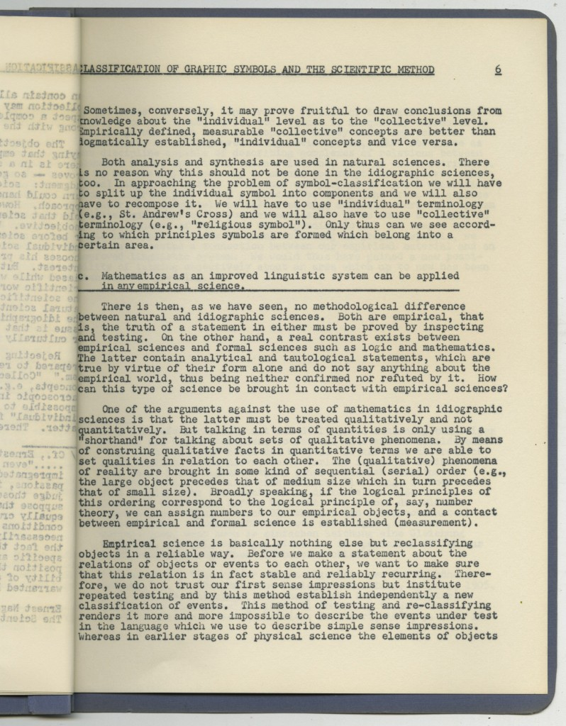 """a document from the Modley collection written in 1959, """"The Classification of Graphic Symbols and the Scientific Method."""""""