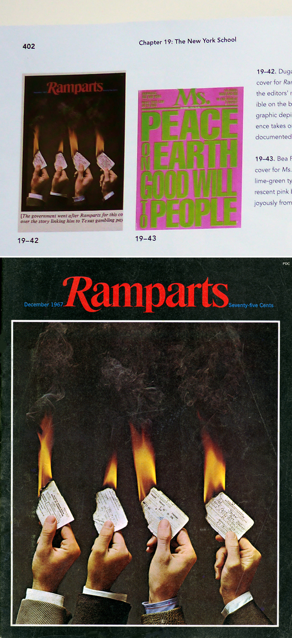 Top: from the fifth edition. Above: Ramparts cover by Dugald Stermer