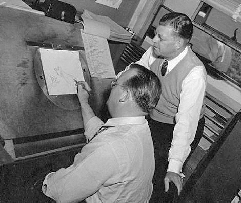 An example photographed at MGM, of the above pegbar in use by animation director Tex Avery, while producer Fred Quimby looks on