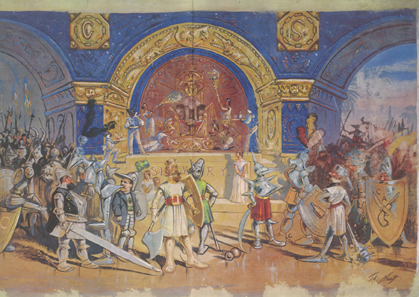 """""""King Cotton"""" is about the dependency of some European nations on the South for their cotton. The throne-room is filled with Confederates and the tall figure on the left, crowned with horns is sitting on a shield with an emblem representing the recently founded KKK."""