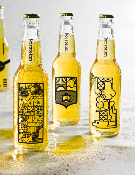 Amusing and abstract line art illustrations adorn these bottles for an Icelandic microbrew and also set the tone for the brand's identity