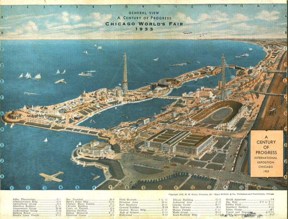 One of the many rendered maps produced during the fair's two year run. This south/southwest view was illustrated in 1932 by H.M. Petitt of Evanston, IL.