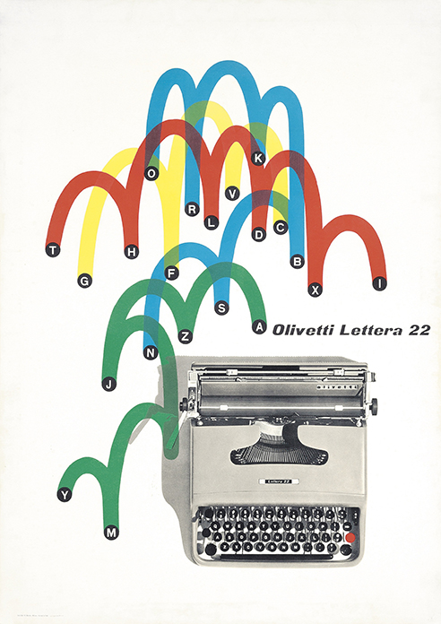 Lot 98 Giovanni Pintori (1912–1999) OLIVETTI LETTERA 22 lithograph in colours, 1955, printed by N.Moneta, Milano, condition A-; backed on japan 28 x 19 Ω in. (71 x 50cm.) Estimate:£1,000–1,500