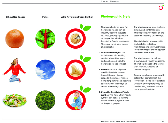 """A 55-page Revolution Foods identity guidelines book demonstrate photographic style and a """"plate system"""" that extends the circle in the Revolution Foods icon to a system of circles that can be used in many applications."""