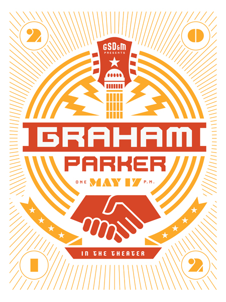 Austin's GDS&M are a highly talented advertising firm with an established list of clients. They designed this poster for a Graham Parker performance.