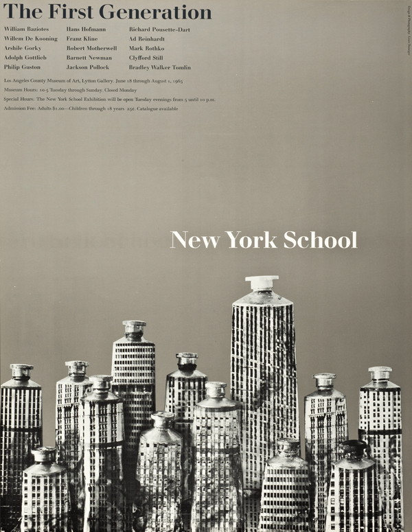 """Louis Danziger: offset lithograph poster for """"New York School: The First Generation"""" at the Los Angeles County Museum of Art, 1965. ©2014 Lou Danziger, photo ©2014 Museum Associates/LACMA."""