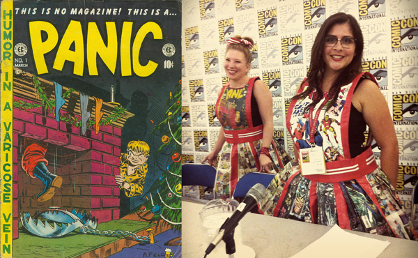 And oh, yes: the Con's costumes. These particularly memorable outfits were created from actual vintage comic books by the Captured Aural Phantasy Theater troupe as part of their SDCC performance, based on the 1954 Senate hearings on comics and delinquency, in which EC's Bill Gaines testified while wired on Dexedrine.
