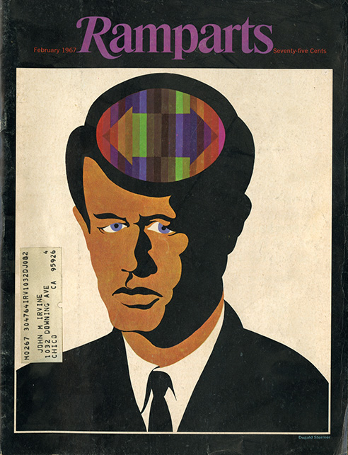 Dugald Stermer's portrait of Bobby Kennedy, whose mid-life conversion from Conservative to Liberal democrat was being questioned by left and right, showed me that stylized graphic characterizations could have strong resonance when in the right illustrator's hands.