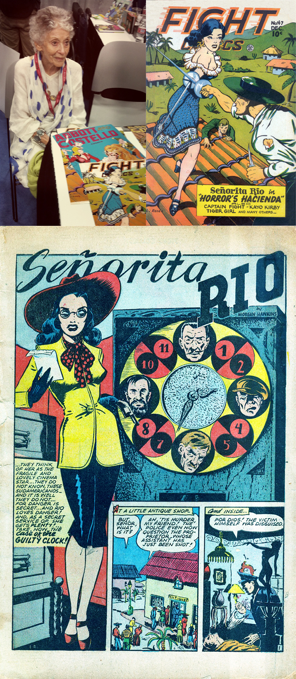 """Trina Robbins' biography of Lily Renée is titled """"Escape Artist: From Holocaust Survivor to Comic Book Pioneer."""" Of all the SDCC celebrity guests, I was most honored to meet Lily, even though she was added just days before the event. Trina gave me the inside skinny: """"I decided to go myself at the last minute. Made my flight arrangements on Monday. Then on Tuesday I get an email from Lily's son, who lives near San Diego, saying Lily's visiting them and would like to come to the Con; can she and the family get in free? Lily get in free? Well, duh. I emailed [administrator] Jackie Estrada who basically said the same thing: """"Well, duh."""" And then I arranged with Fantagraphics for us to do a signing together and they went out of their way and moved stuff around to make it work. It was magic!"""""""