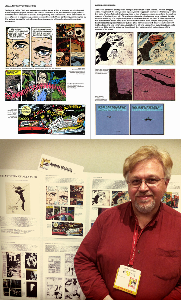 """The Comics Arts Conference's """"Poster Session"""" is designed specifically for attendees to interact directly with presenters; here, a large room of two dozen comics scholars. I spent an enjoyable half-hour with Andre Molotiu, discussing Alex Toth's sophisticated treatment of visual narrative and page design."""