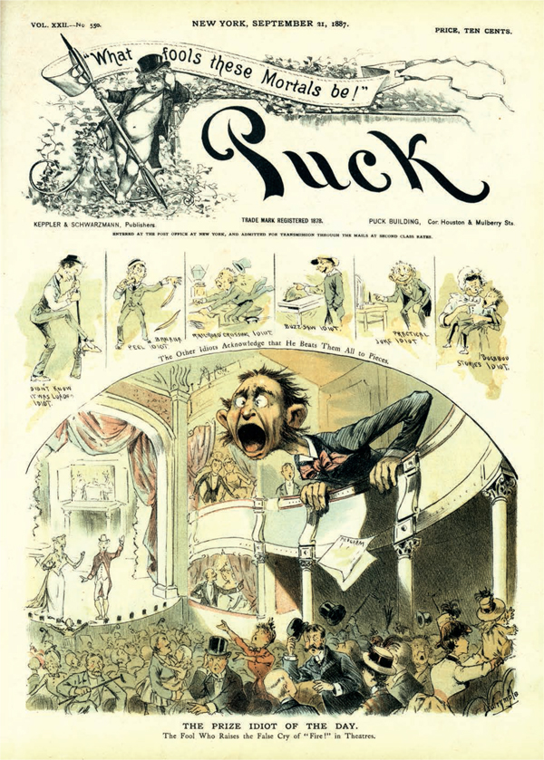 """F. Opper: """"The prize idiot of the day,"""" 1887."""