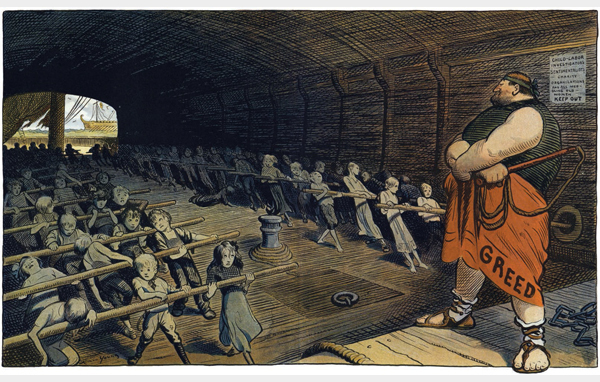 """Art Young, 1909. """"Art Young, later a cartoonist for the Socialist magazine The Masses, lambasted the exploitation of child labor in this stark and powerful cartoon."""""""
