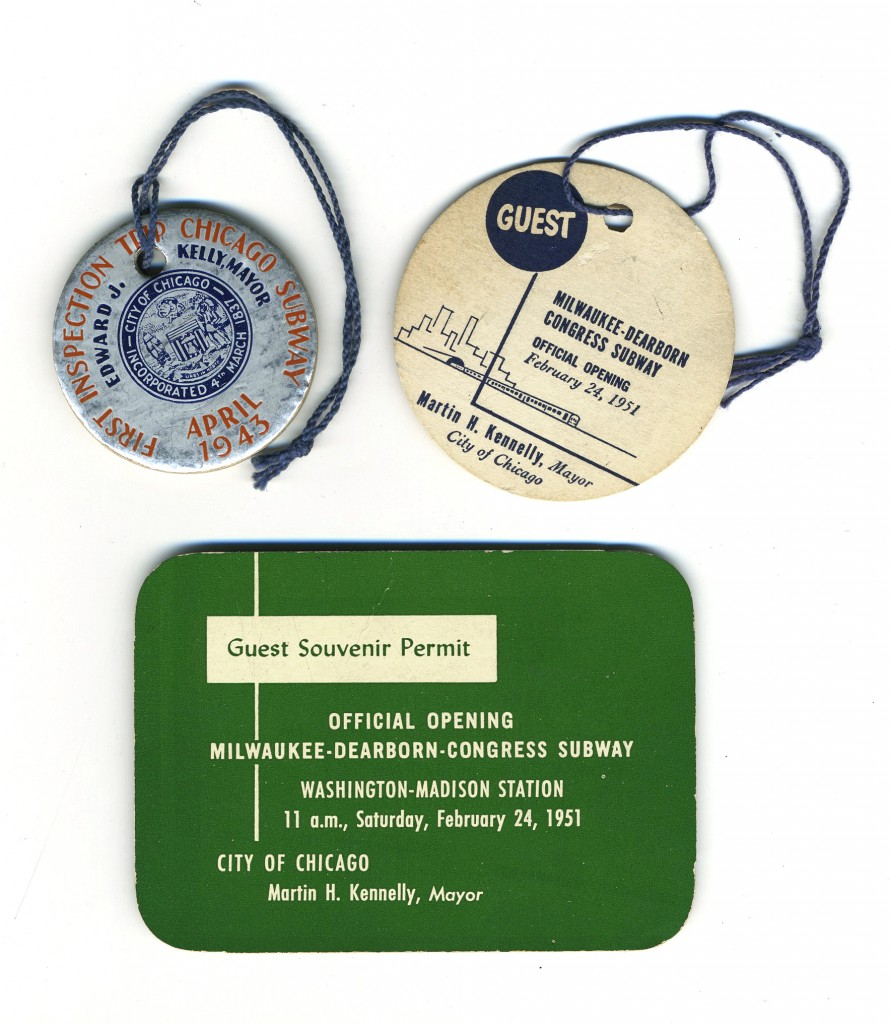 """""""Guest tags"""" for the first day of operation on the State Street (1943) and Milwaukee Avenue (1951) subways"""