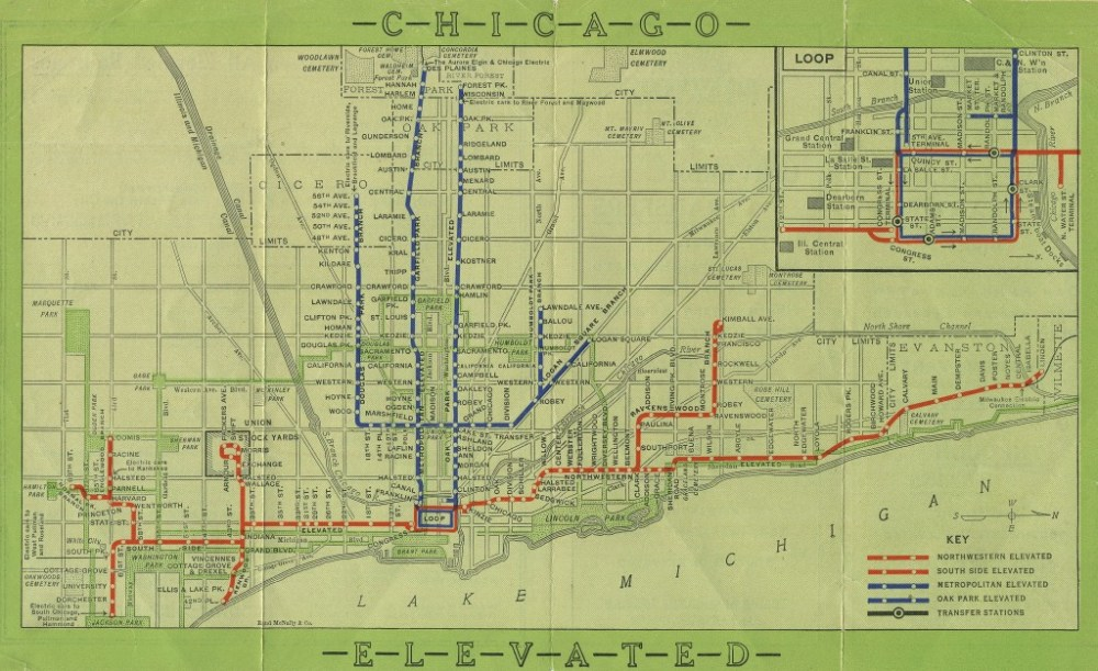 A 1913 map of the Chicago Elevated system