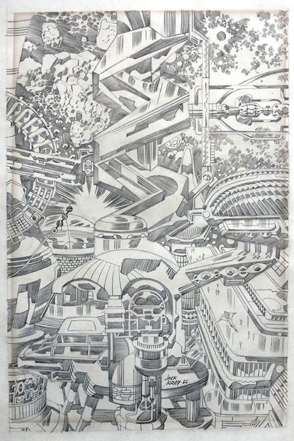 Fantastic Cityscape, 1966. Jack Kirby: pencil drawing.