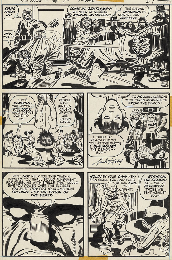 Demon #7, 1973. Jack Kirby: pencils, Mike Royer: inks and letters.