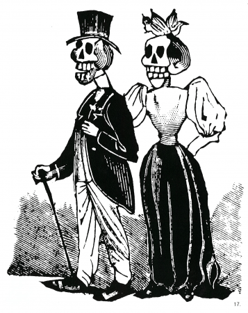 Fig. 17—Broadside illustration by José Guadalupe Posada of a fashionably-dressed, upper-class couple.