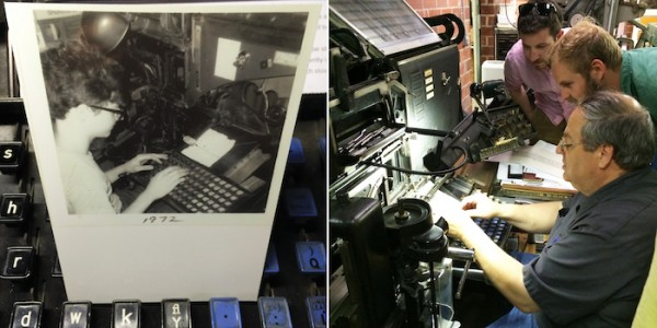 (Left) Jim at his first Linotype in 1972 (Right) Demonstrating the Intertype to Kevin and Andrew