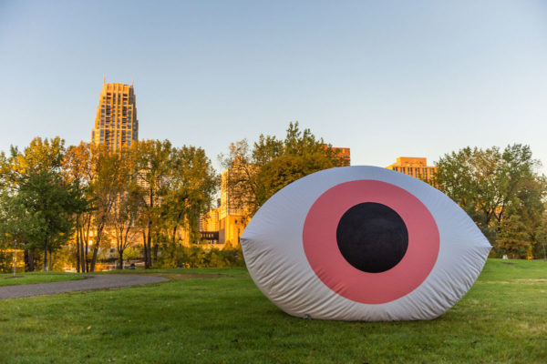 Inflatable Eye on Design logo at Nicollet Island Pavilion, Minneapolis, MN.
