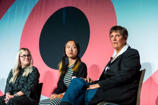 AIGA EoD 2017 panel on mental health: Meg Lewis, Qieer Wang and Roxanne Kibben.