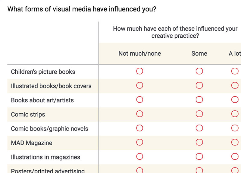 from the Illustrators' Legacy Preservation questionnaire
