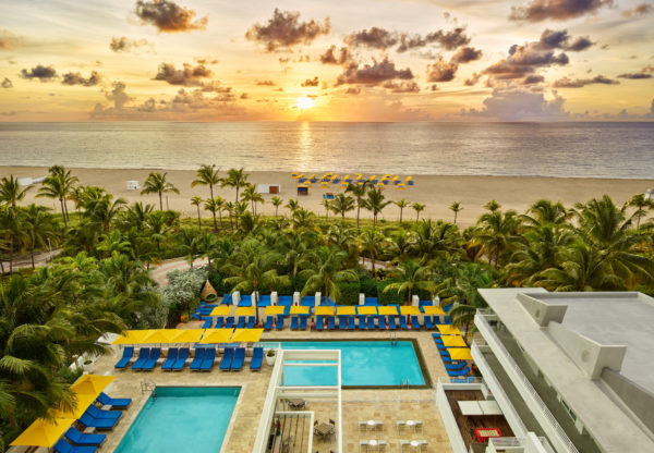 Sunset at the Royal Palm South Beach Miami Resort, part of a Tribute Portfolio-Pantone partnership in 2019