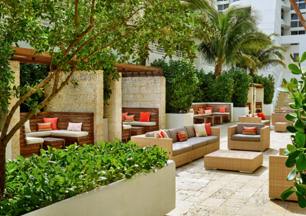 Living Coral in situ at the Royal Palm South Beach Miami Resort, part of a Tribute Portfolio-Pantone partnership in 2019