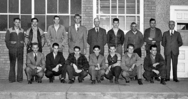 Andrew King and sons with employees in front of the Estevan Mercury offices – late 1940s.
