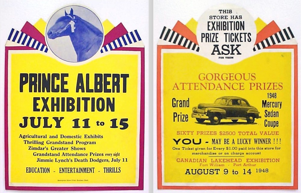 Different show cards using common background plates.