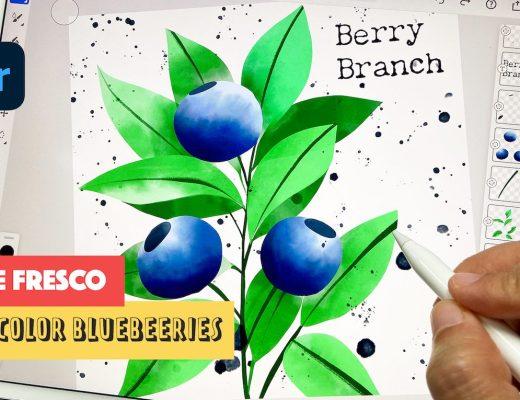 Adobe fresco tutorial watercolor blueberry branch